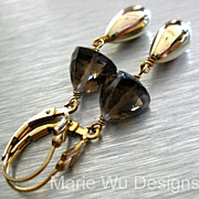 Sultry Smoky Quartz Pyramids~14k Gold Fill~Contemporary Dangle Earrings~