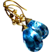 Forbidden Fruit~AAA Swiss Blue Topaz~22K Solid Gold~Handcrafted~One of a Kind Artisan Earrings~