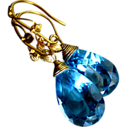 Forbidden Fruit~AAA Swiss Blue Topaz~22K Solid Gold~Handcrafted~One of a Kind Artisan Earrings