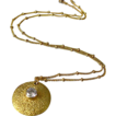 Contemporary~Textured 18k Gold Vermeil~CZ Studded Pendant~14k Gold Fill Necklace~