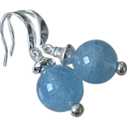 12mm NATURAL Aquamarine Spheres~March Birthstone~Sterling Silver Earrings~