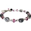 Genuine Pink Topaz~Tourmalated Quartz Cubes~Sterling Silver Bracelet~with Charms