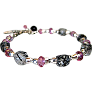 SALE Genuine Pink Topaz~Tourmalated Quartz Cubes~Sterling Silver Bracelet~with Charms