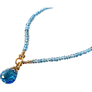 AAA Swiss Blue Topaz~14k Solid Yellow Gold 22ct Pendant Necklace~