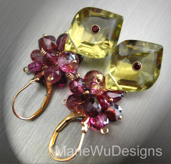 Astounding Pink Topaz~Ruby~pink Tourmaline~Rhodolite Garnet~Unique Lemon Quartz~14k Gold Leverback Earrings~