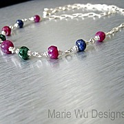 Precious Gems~Emerald~Ruby~Sapphire~Sterling silver Necklace~
