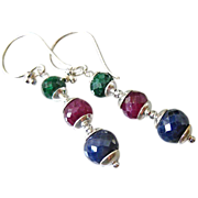 Precious Gems~Emerald~Ruby~Sapphire~Sterling silver Dangle Earrings~