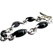 Unique Black Onyx-Sterling Silver Contemporary Bracelet