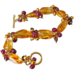 Natural Golden Citrine-Ruby-Garnet-FW Pearls-24k Gold Vermeil Toggle Bracelet