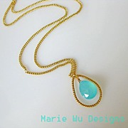 Aqua Chalcedony-16k Gold Plated Pendant Hoop Necklace
