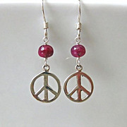 Love n Peace-Ruby Peace Sign-Sterling Silver Dangle Earrings