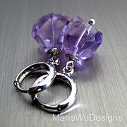 Purple Rocks-Amethyst-16k White Gold Plated Hoop Earrings