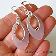 Contemporary-Pink Chalcedony Hoop-Sterling Silver Bold Earrings