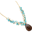 Bold Smoky Quartz Pendant-Sleeping Beauty Turquoise-FW Pearl-Gold Vermeil Adjustable 14k Gold Fill Fringe Necklace-