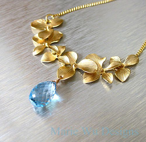 Petals-Sky Blue Topaz Teardrop Briolette-Blossom 14k Gold Fill Necklace