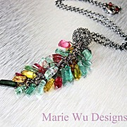 SOLD Natural Tourmaline Free Form Crystals-Bali Oxidized Silver Necklace