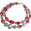 Bold-Bamboo Coral-Balinese Silver-2 Strand Necklace