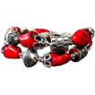 Bold-Bamboo Coral-Balinese Silver-2 Strand Toggle Bracelet