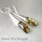 Natural Phantom Bi-Color Green Gold Quartz-Sterling Contemporary Earrings