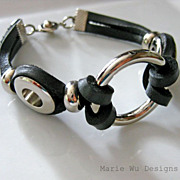 Unisex-Stainless Steel-Men's Black Leather Cord Bracelet