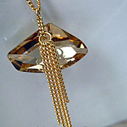 Swarovski Chunky Pendant -16k Yellow Gold Plate-Waterfall-Adjustable Necklace