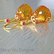 IF Clarity Golden Citrine-Ruby-18k Solid Yellow Gold Earrings