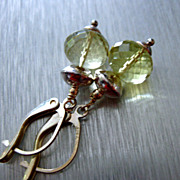 Contemporary~Genuine Lemon Quartz~Bright Sterling Silver Earrings~
