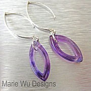 Contemporary Amethyst Marquise-Sterling Silver Earrings