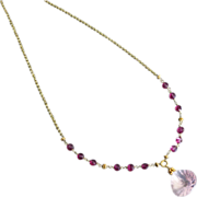 Captivating-Madagascar Pink Rose Quartz Pendant-Rubellite Pink Garnet-18k Gold Necklace