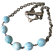 Larimar-Artisan Made Oxidized Sterling Silver Toggle Necklace-