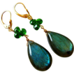 Chrome Diopside-Intense Fire Labradorite-14k Solid Yellow Gold Leverback Earrings