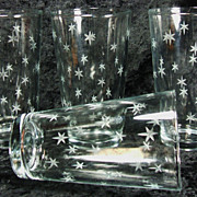 SALE 4 Vintage Libbey Glass Tumblers with Cut Stars