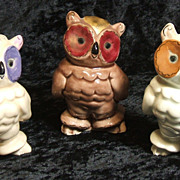 "SALE 3 Kay Finch California Pottery Owls 3 3/4"" signed figurines Owl"