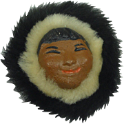 SALE Vintage Alaska Souvenir Pin Pottery Eskimo Inuit Face with real Fur brooch
