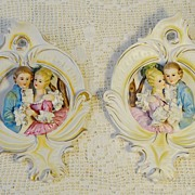 SALE Romantic Victorian theme 3 dimensional Wall Plaques Porcelain Lace