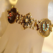 Beautiful Early Coro Chain Link Charm Bracelet