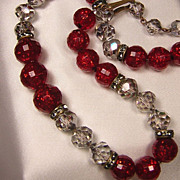 Faceted Crystal Necklace w/Red Confetti Beads