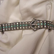 Art Deco Sterling Silver Diamonbar Rhinestone Paste Bracelet