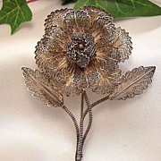 Hallmarked Silver Portugal Filigree (Spun Silver)  Brooch