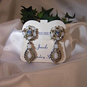 Hobe' -  Vintage Satin Glass & Blue Rhinestone Drop Earrings