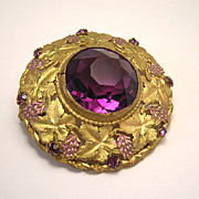Vintage Victorian Gilt Brooch w/ Amethyst Glass Stone