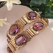 Antique Victorian Amethyst Wedding  Bracelets