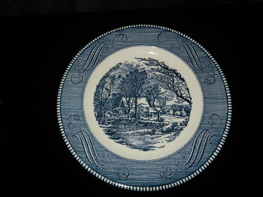 Vintage Currier and Ives by Royal China- 10 inch Dinner Plate- Old Grist Mill