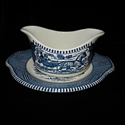 Vintage Currier and Ives Royal Blue Gravy Boat and Underplate