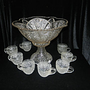 SALE Vintage EAPG Sunburst / Starburst Punch Bowl