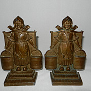 Vintage Pair Cast Bronze DUTCH GIRL bookends circa 1920's
