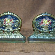 Vintage Cast Iron Fruit Basket Bookends