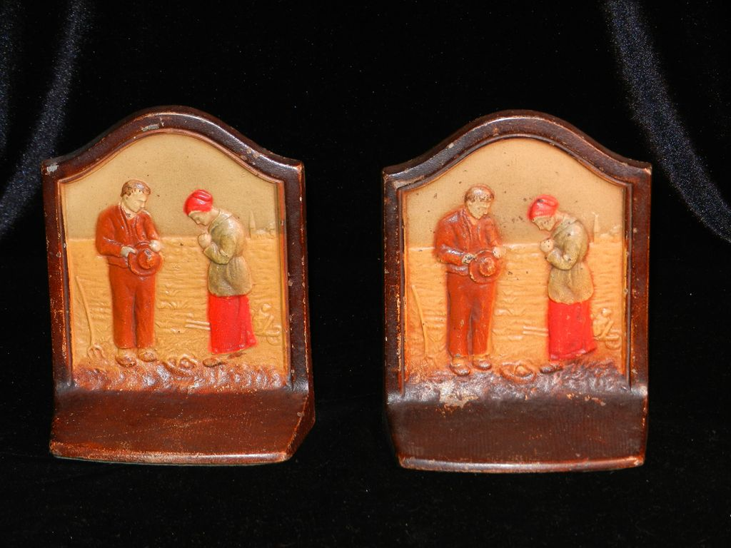 Vintage 1928  Angelus Call To Prayer Cast Iron Bookends