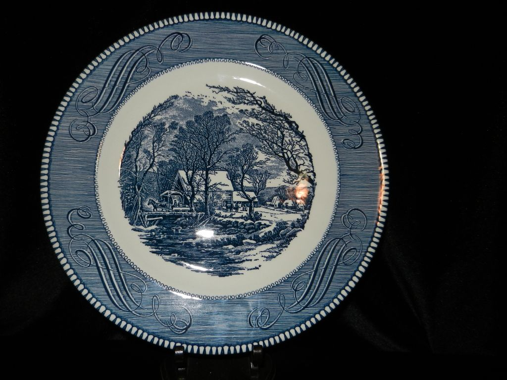 Vintage currier and ives by royal china 10 inch dinner plate old