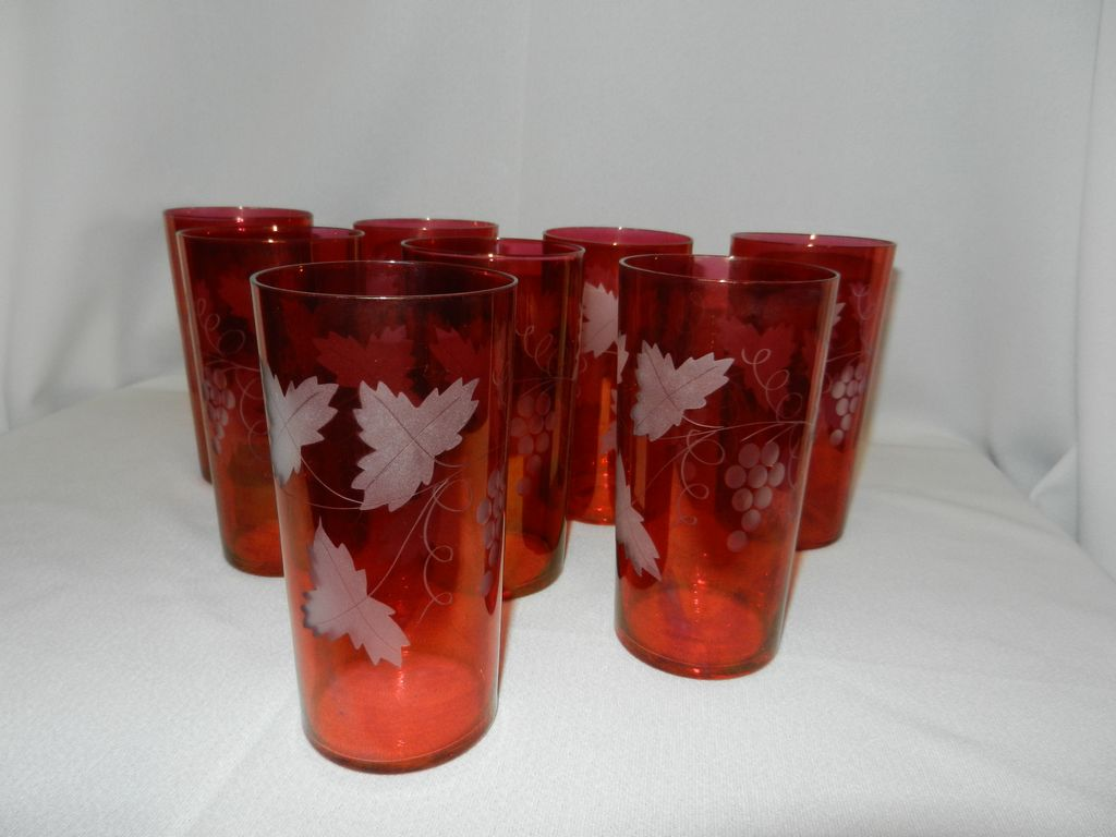 Vintage Cranberry with Grape Etched Design Tumblers